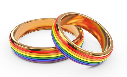 Gay Wedding Rainbow Rings Isolated on White Background.