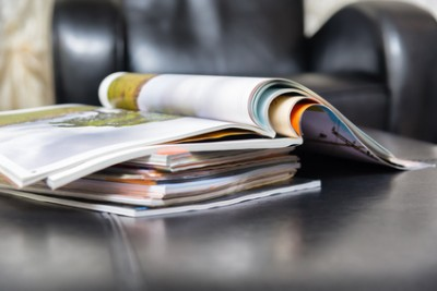 Color magazines in leather living room