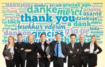Business Team sagt Danke in vielen verschiedenen Sprachen